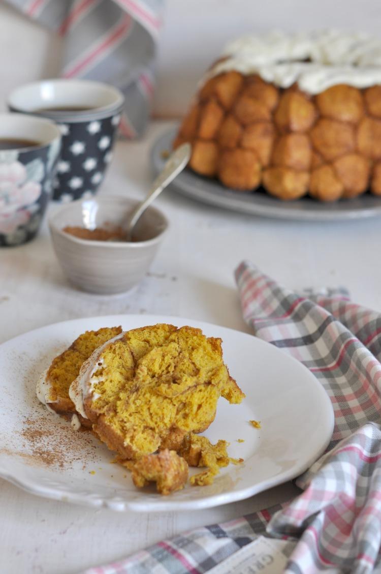 monkey bread calabaza y canela con crema de queso