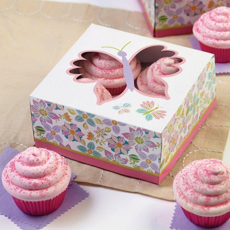 Cajas Para Pasteles Y Cupcakes Mariposa Flores