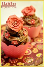 Cupcakes chocolate y rosas