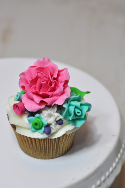 curso de cupcakes de flores, rosa perfecta