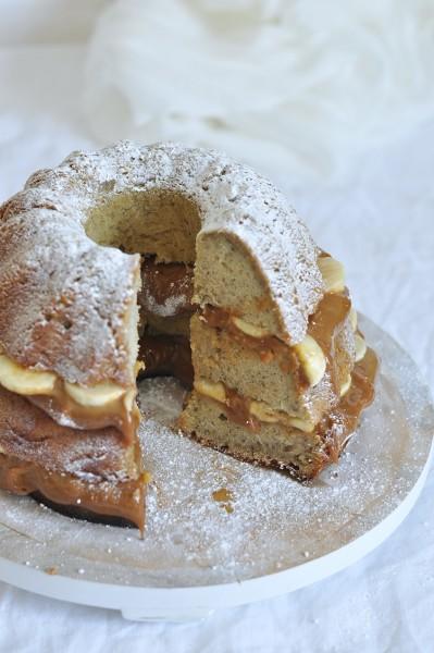 bundt cake dulce de leche y platano